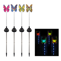 Hot 4 Pack LED Solar Light Color Changing Butterfly Dragonfly Garden Weddings Family Parties Decoration Figurines Landscape Ligh