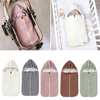Zimowe ciepłe śpiwory dziecięce wózek dziecięcy noworodek owijka dla niemowląt koperty niemowlę śpiwór dla 0-12 miesięcy tanie i dobre opinie Unisex W wieku 0-6m 7-12m 13-24m 25-36m CN (pochodzenie) C63C7HH103780-PK Sleepsacks Suknem Stałe COTTON baby