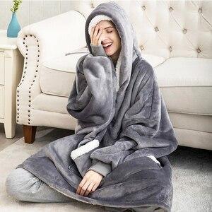 Image 4 - Oversized Hoodies Sweatshirts Women Plaid Blanket Wearable Hoodie Blanket with Sleeves Winter Hooded Sweatshirts Sherpa Blanket