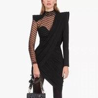 2019 Winter Dress Long Sleeve Dots Pattern Mesh Mini Dress High Quality Black Stand Collar Asymmetrical Dresses Sexy Dress