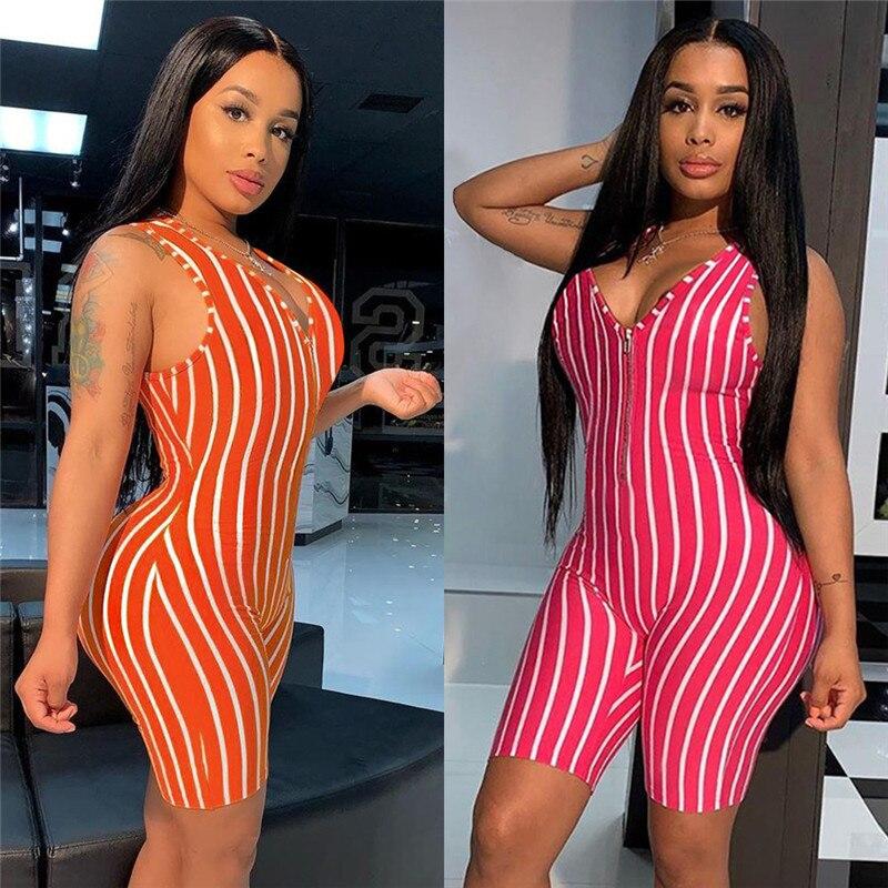 2020 Sexy Women V-neck Front Zipper Bodycon Jumpsuit Romper Sleepwear Sleeveless Striped Jumpsuit Short Romper Bodysuit Leotard