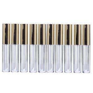 10pcs 10ml Lipgloss Tube Labial Circular Tubes Empty Lip Gloss Tube Plastic Body Lip Glaze Bottle For Female Perfume (Golden)