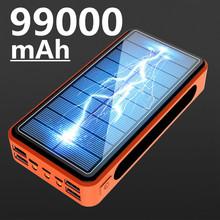 99000mAh bateria słoneczna bezprzewodowy Power Bank LED Light Powerbank przenośna ładowarka 4USB do telefonu komórkowego Xiaomi Samsung IPhone tanie tanio ALLPOWERS Bateria litowo-polimerowa Z panelu słonecznego Z latarką CN (pochodzenie) Micro Usb USB Typu C Z tworzywa sztucznego