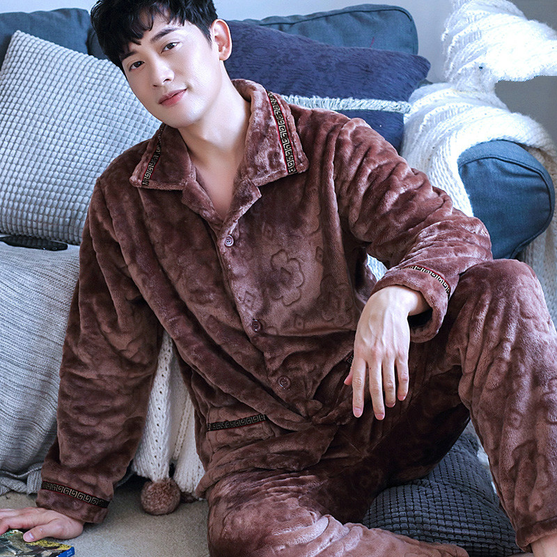 H5918 Men Pajamas Set Autumn Winter Thickened Flannel Long Sleeve Lapel Sleepwear Male Large Size Coral Velvet Home Clothes Suit