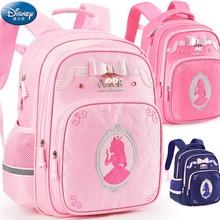 Disney Children Primary School Schoolbag New Girl Backpack Cute Princess Bow Comfortable Safe Girl Bag