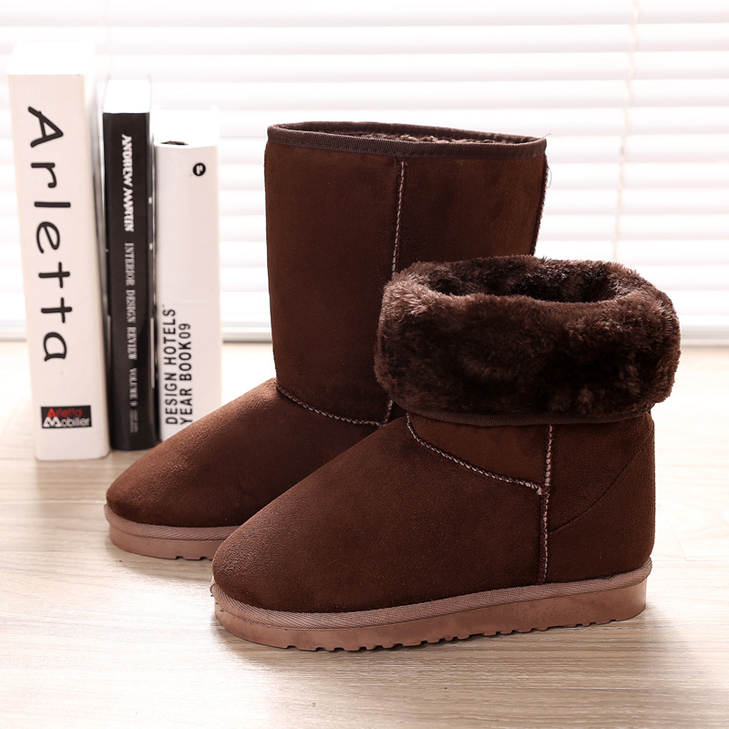 Women Warm Ankle Boots Faux Fur Winter Fashion Boots Flat with Light Bootie Warm Footwear Shoes Booten
