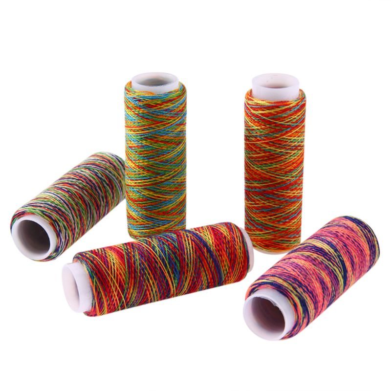 5Pcs Gradient Rainbow Colorful Polyester Thin Hand Sewing Thread Stitching Yarn