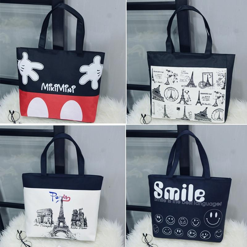 Casual Canvas Tote Handbag Women Cartoon Eiffel Tower Shoulder Bag Female Beach Bag Shoulder Bag Lady BB489