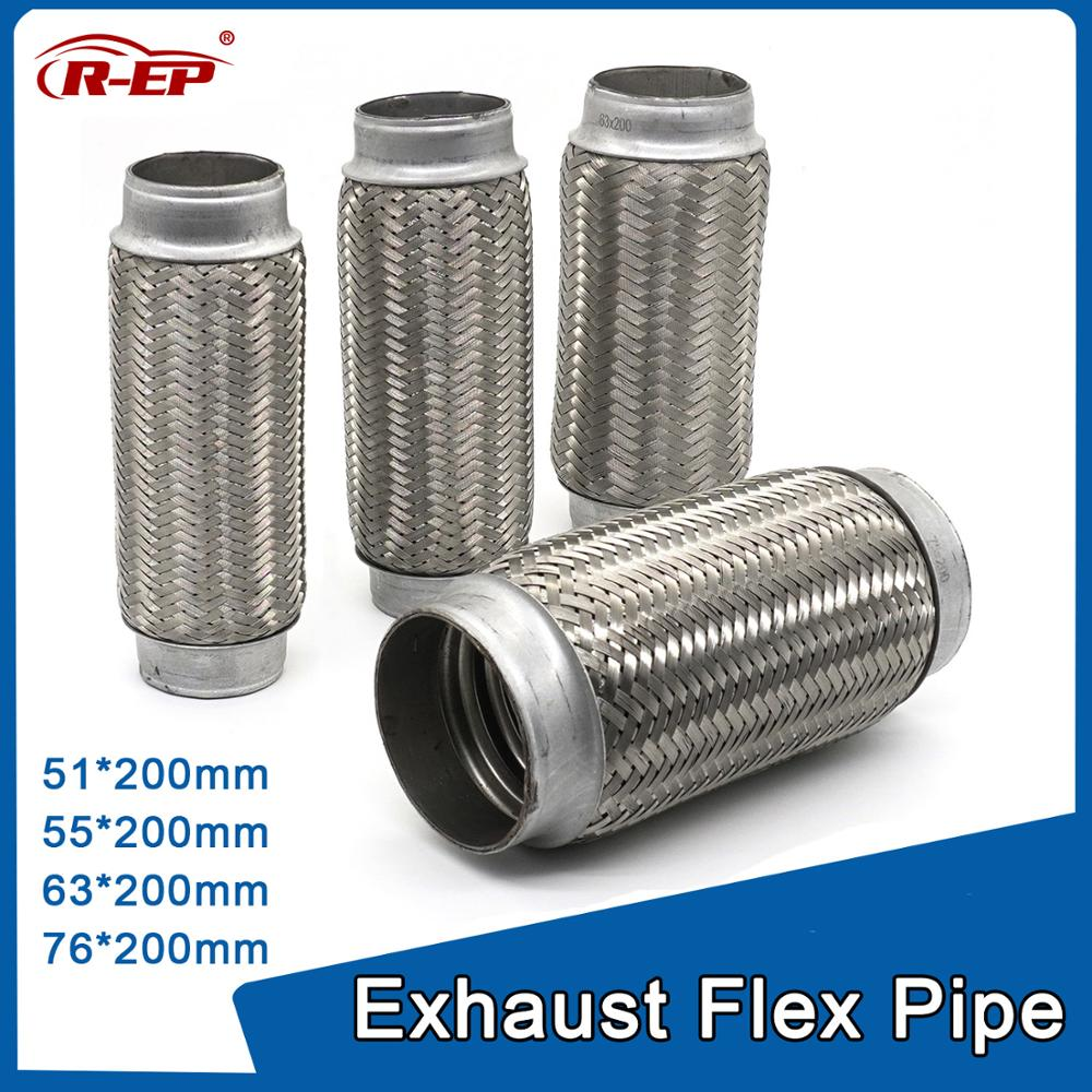 R-EP Exhaust Car Accessories Muffler Exhaust Pipe silencer nozzle Stainless Steel 51/55/63/76mm LH200mm image