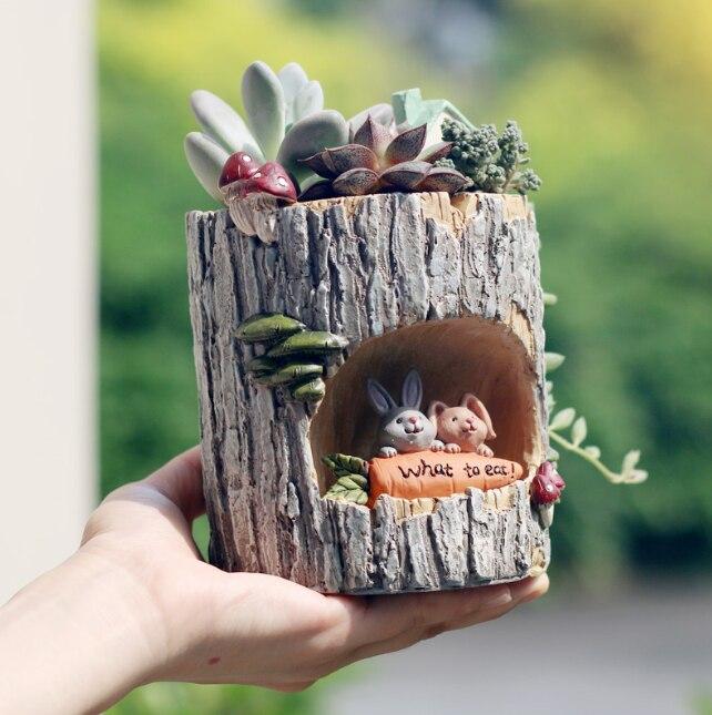 Resina de madeira moderna bonsai suculentas pote retro permeável cerâmica verde planta vasos flores sala estar escritório jardim decoração da sua casa