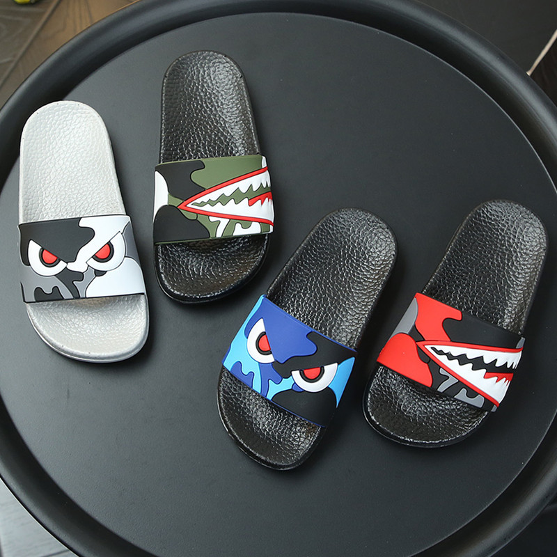 Kids Cartoon Shark Slippers Boys Summer Sandals Baby Non-slip Flat Beach Shoes Toddler Swimming Slipper Girls Bathroom Flip Flop