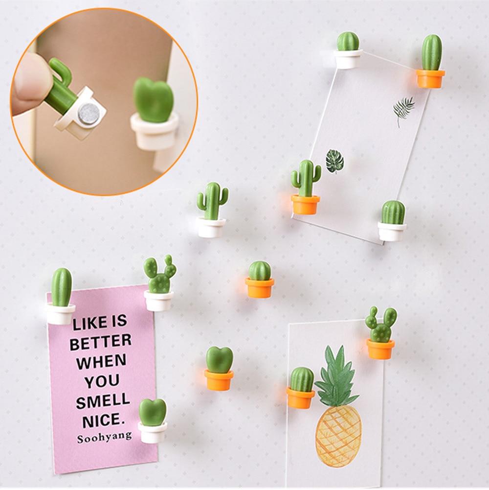 6pcs Fridge Magnet 2020top 6pcs Cute Succulent Plant Magnet Button Cactus Refrigerator Message Sticker