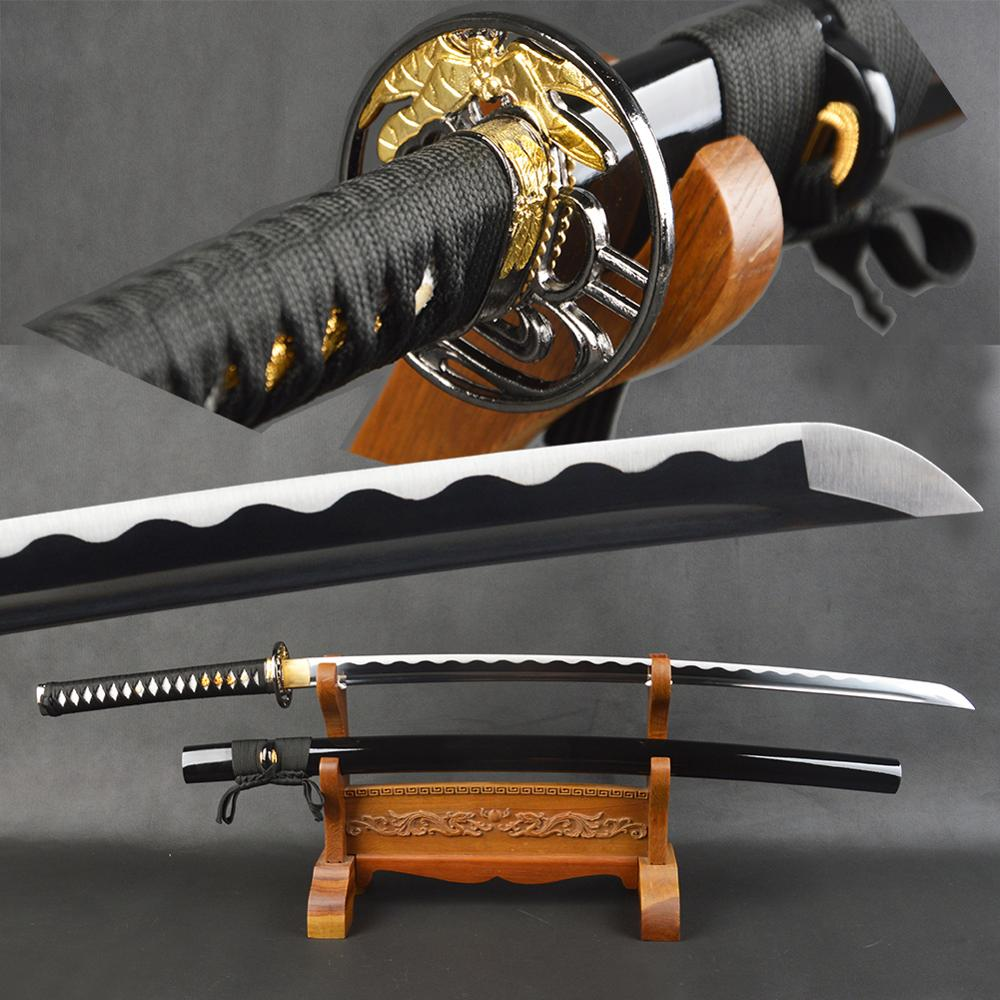 Bushido katanas artesanais espadas katanas samurai japonês espadas katana Afiada tsuba liga de Metal artesanato de couro sintético
