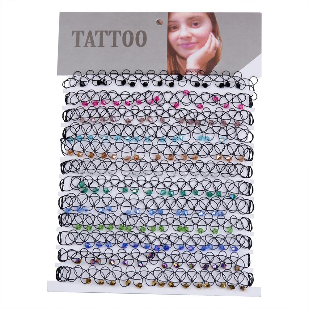 12 pcs/Set Colorful Crystal Fishline Tattoo Rainbow Chokers Necklace Stretch Henna Gothic Punk Elastic Chocker Women Jewelry