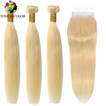 Straight 613 Blonde Bundles With Closure Brazilian Human Hair Weave Lace Remy 4x4