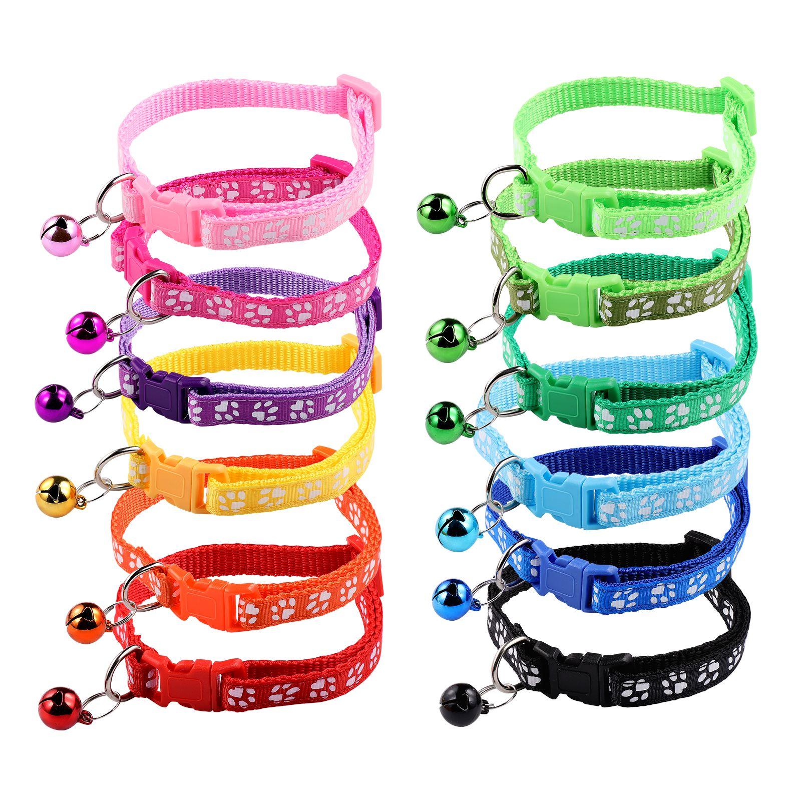 12 шт., напечатанный собачий ошейник, колокольчик, кольцо на шею для питомца, товары для собак и щенков (разные цвета)
