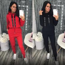 Women Rhinestone Diamonds Beading Ribbon Suits Casual Hooded Tops Knit Long Pant