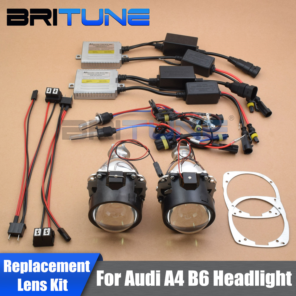 Car Lenses Replace For Audi A4 B6 8E 2001-2004 Xenon Halogen Headlight HID Projector Bi-xenon Lens Full Kit Accessories Retrofit