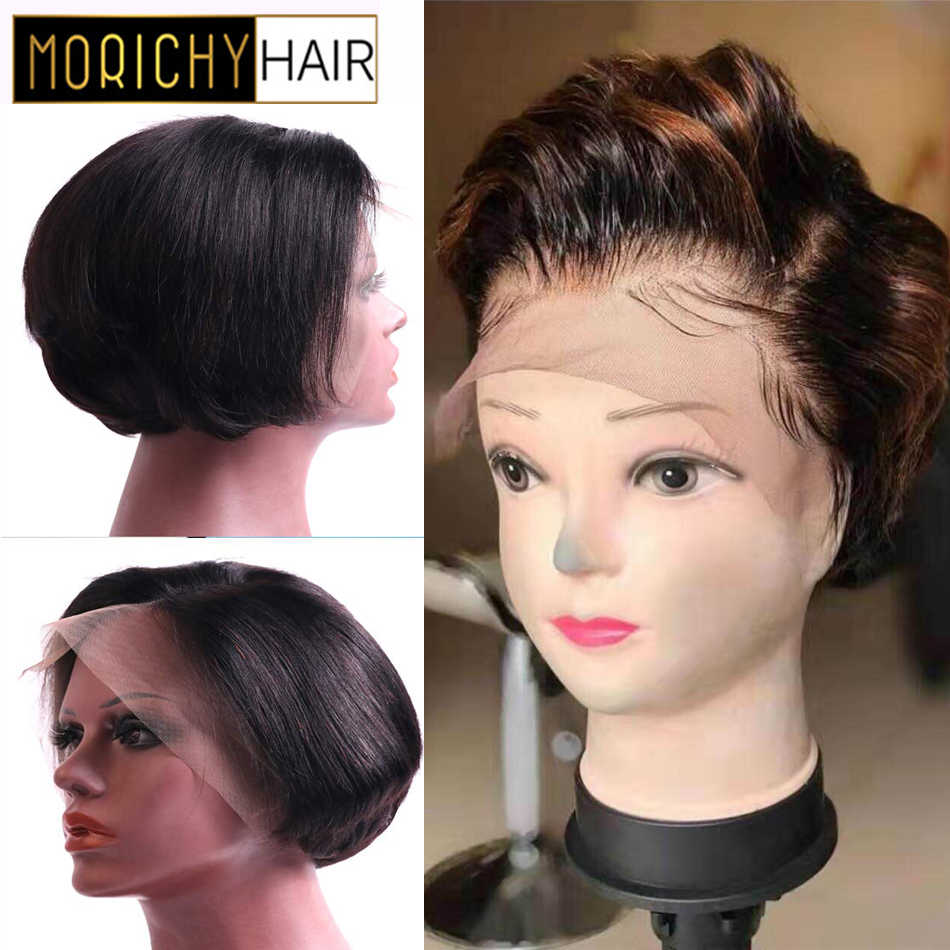 Morichy Straight 13X4 Lace Front Wig Blank Short Cut Pixie Bob Wigs Malaysian Remy Real Human Hair DIY Styles in Salon for Older