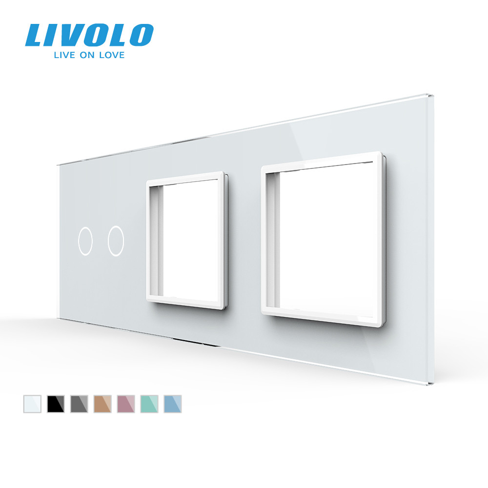 Livolo White  Pearl Crystal Glass222mm 80mm EU standard2Gang  amp 2 Frame Glass PanelC7-C2 SR SR-11 4 Colors only panelno logo