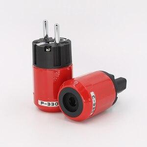 Image 1 - P330+C330 Audio Grade Rhodium Plated EU Schuko AC Power Plug+ IEC Connector Plug DIY Power Cord