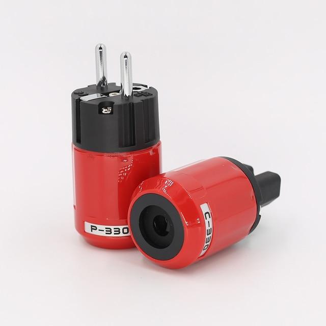 P330+C330 Audio Grade Rhodium Plated EU Schuko AC Power Plug+ IEC Connector Plug DIY Power Cord
