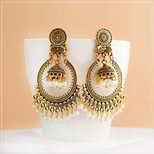Brincos de borla jhumka, brincos brancos para mulheres e antigas de estilo indiano, brinco étnico de liga de ouro, joia de moda