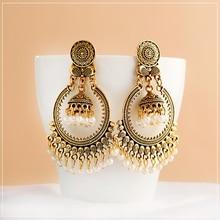 Antiguo indio de las mujeres blancas perlas borla Jhumka pendientes etnia gitana aleación de oro gran círculo campana gota pendiente joyería de moda