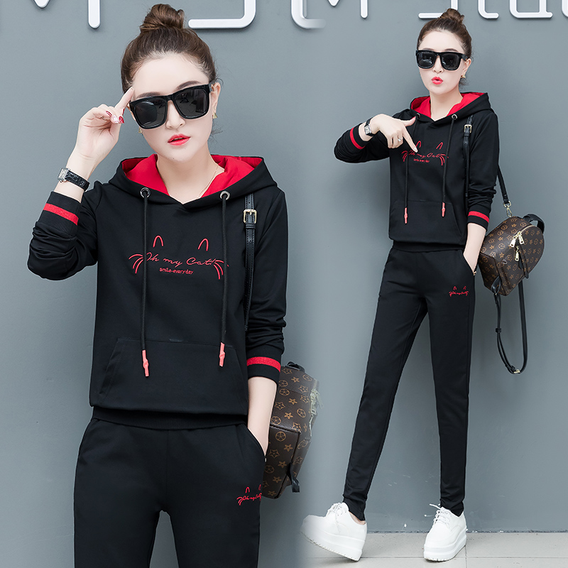 2019 New Leisure Sports Suits Female Fashion Two-piece Set Cropped Hoodie Lounge Wear Womens Autumn Outfit Korean Style Pants