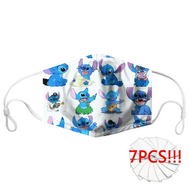 Customized Cartoon Anime Lilo Stitch Print Mask Mouth Breathbale Reusable Filter Face Mouth Mask for Women/Men Mask 4