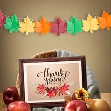 Thanksgiving Paper Banner Maple Leaves Turkey Thanks Giving Day Fall Autumn Decorations 2020 New