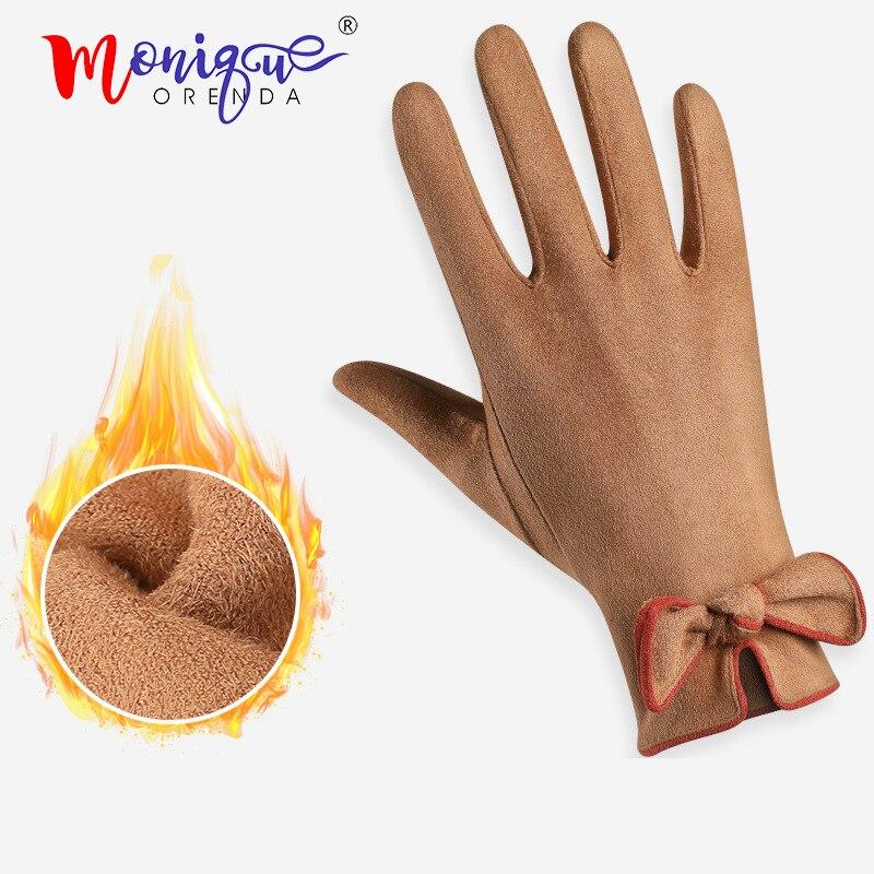 2019 New Winter Warm Suede Touch Screen Gloves Women Travel Outdoor Shopping Female Ladies Bow Elegant Warm Mitten