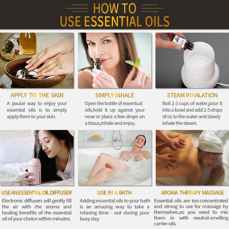 HIQILI นวด Rosemary ORANGE Essential Oil 10ML Diffuser AROMA น้ำมันไม้จันทน์วานิลลา Peppermint Lavender Patchouli Rose Lemon