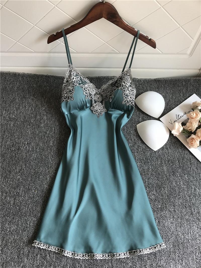 Babydoll Nightdress Blue Homewear Cute Sleepshirts Women Nightdress Female Sexy Sling Nightgowns Ladies Lingerie Sleepdress