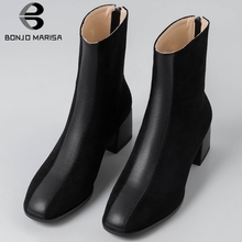 BONJOMARISA 31-43 Western Hot Sale Patchwork Booties Ladies Brand Square Toe Ankle Boots Women 2019 Black Med Heels Shoes Woman