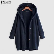 ZANZEA 2021 Autumn Women Thick Coat Solid Color Button Long Sleeve  Hoody Jackets Outerwear Cardigan Jumper Plus Size Sweatshirt