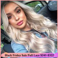 QueenKing haar Volle Spitze Perücke 150% Dichte Asche Blonde Grau Farbe perücke Gerade gezupft Haaransatz 100% Brasilianische Menschliches Remy Haar