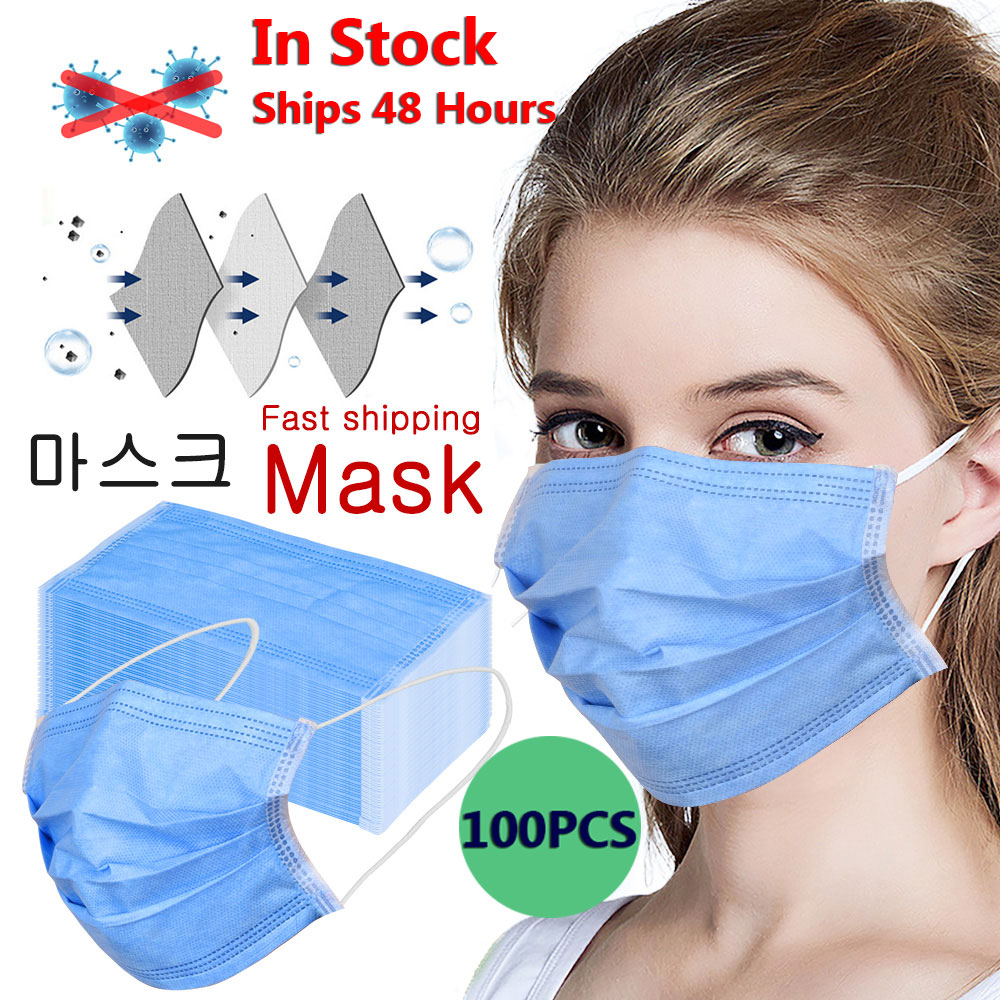 100pcs Medical Mask Disposable Surgical Protective Face Mask 3 Ply Non Woven Mask Anti Dust Filter Respirator Mask In Stock