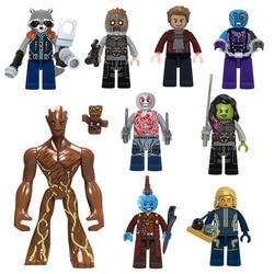 Marvel guardiões da galáxia estrela-senhor gamora nebulosa foguete raccoon yondu bloco de construção brickmini boneca de brinquedo figura para criança