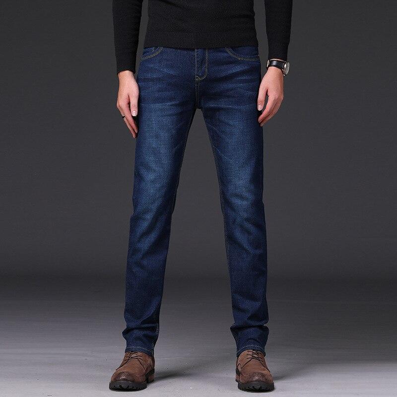 2018 Four Seasons Fashion Elasticity Jeans Men's Straight Slim Casual Trousers Youth Medium Waist Men's Trousers Korean-style Me