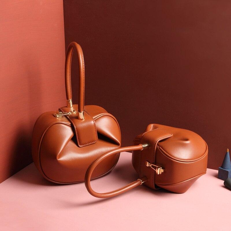 Burminsa Women Genuine Leather Hobos Bags Small Tote Bags Girls Elegant Handbags Designer Brand High Quality Ladies Evening Bags
