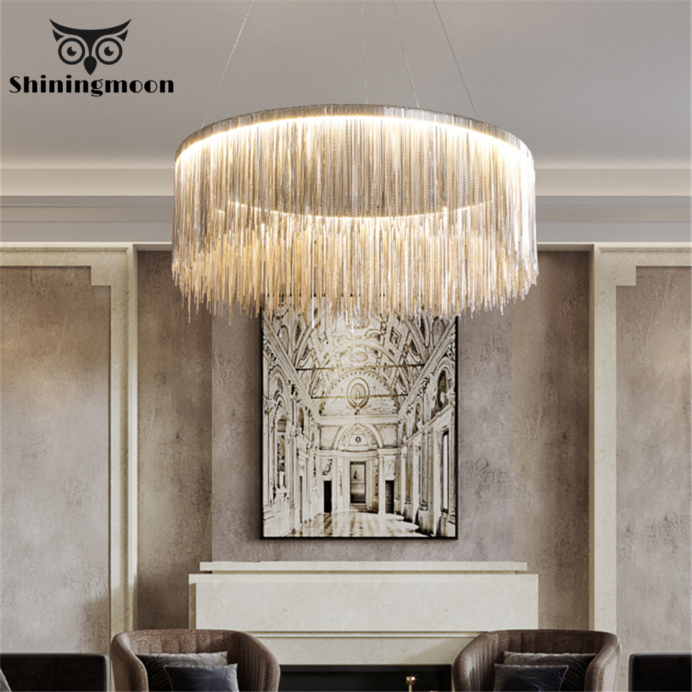 Modern Led Chandeliers Round Golden Chandelier Lighting Lustre Suspension Luminaire Dining Room Home Deocr Hotel Hanging Lamp|Chandeliers| |  - title=