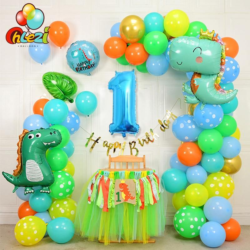 107 шт. с рисунком динозавра из мультфильма набор воздушных шаров на день рождения 32 дюймов номер Фольга баллоны Baby От 1 до 3 лет День рождения ...