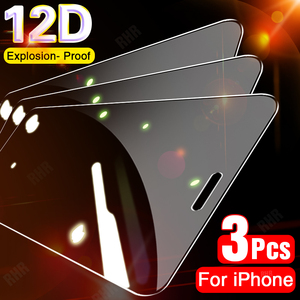 3PCS Full Cover Protective Glass For iPhone 11 Pro XS Max X XR Tempered Screen Protector For iPhone 7 8 6 6s Plus SE 2020 Glass(China)