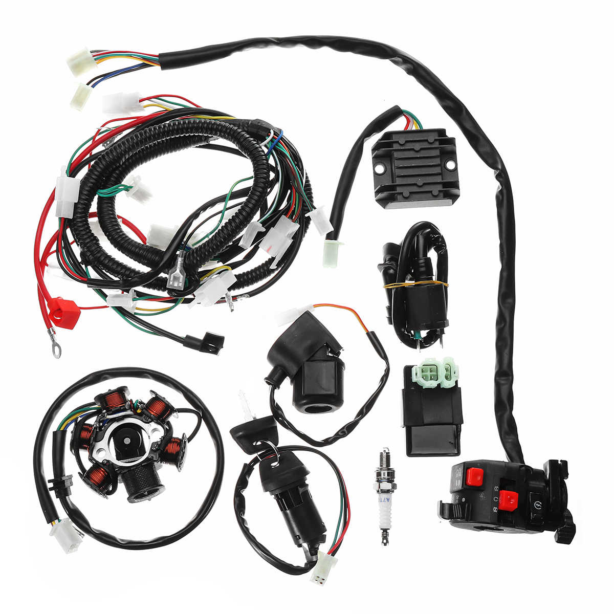 Cableado eléctrico completo arnés Loom CDI bobina para GY6 150CC ATV Quad Buggy Go Kart con rectificador + relé solenoide + interruptor de encendido