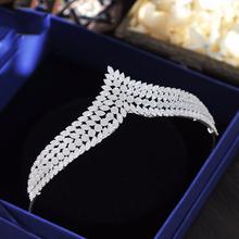Elegancka pełna cyrkonia tiary korony dla narzeczonych Royal Silver Diadem ślubne opaski kryształowe ślubne akcesoria do włosów prezenty ślubne tanie tanio Queenco Miedzi Kobiety JSGSHG705431206 ANCHOR TRENDY Wedding Bridal Princess Crystal Tiaras Bridal Wedding Princess Queen Crowns