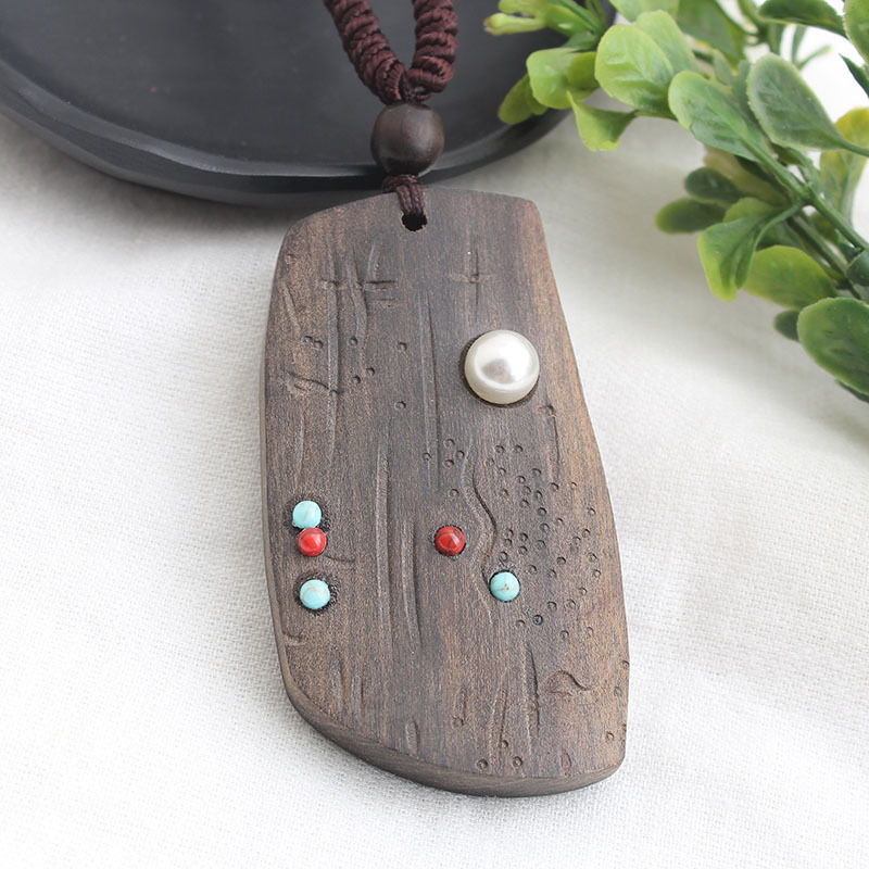 Details about  /Vintage Sandalwood Natural Stone Pendant Necklace for Unisex Fashion