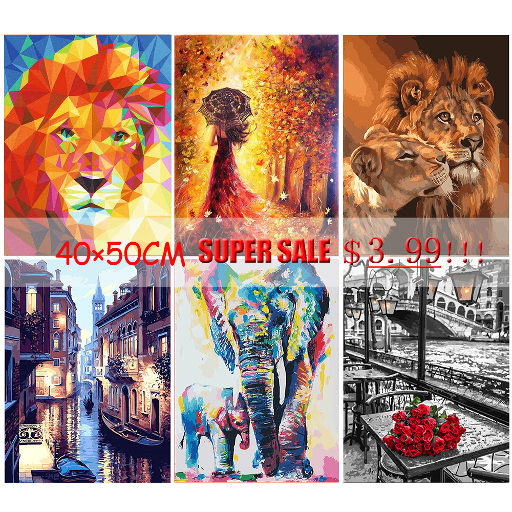 GATYZTORY 40×50CM DIY Painting By Numbers HandPainted Oil Painting Adult Child Picture Colouring Home Decor Unique Gift