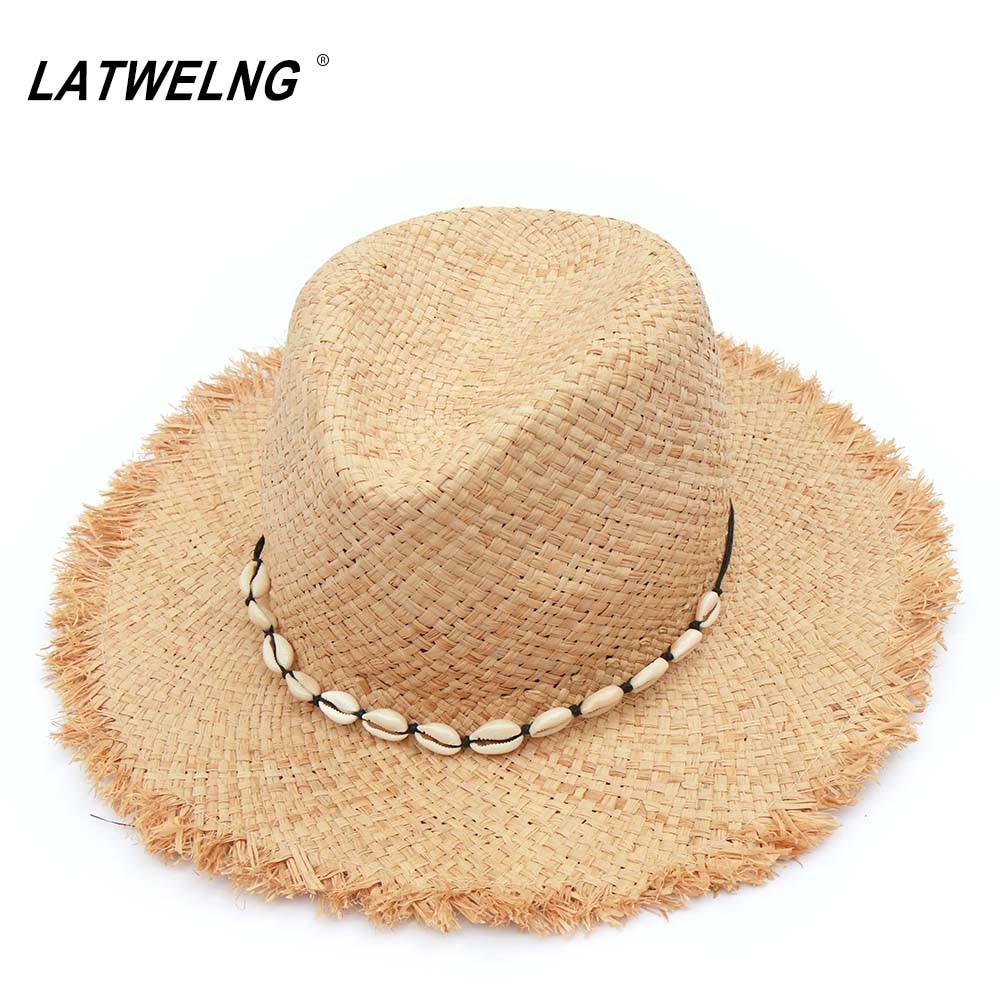 Fashion Women Panama Hats With Natural Shell Conch Raffia Beach Hat Summer Straw Sun Visor Caps Wholesale Dropshipping