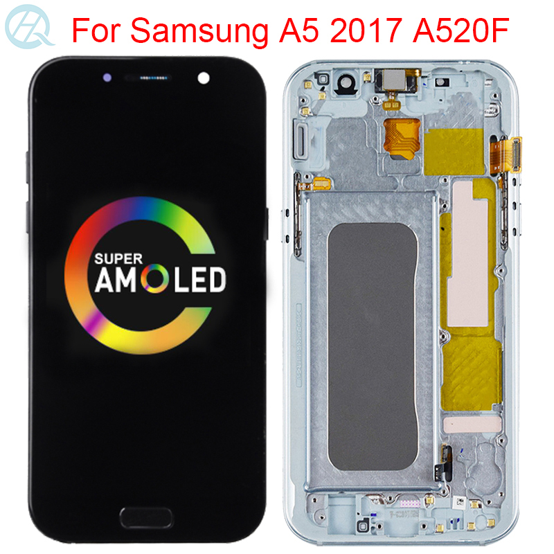 Original AMOLED Display For Samsung Galaxy A5 2017 A520F SM-A520F LCD With Frame Display Touch Screen Assembly Repair LCD